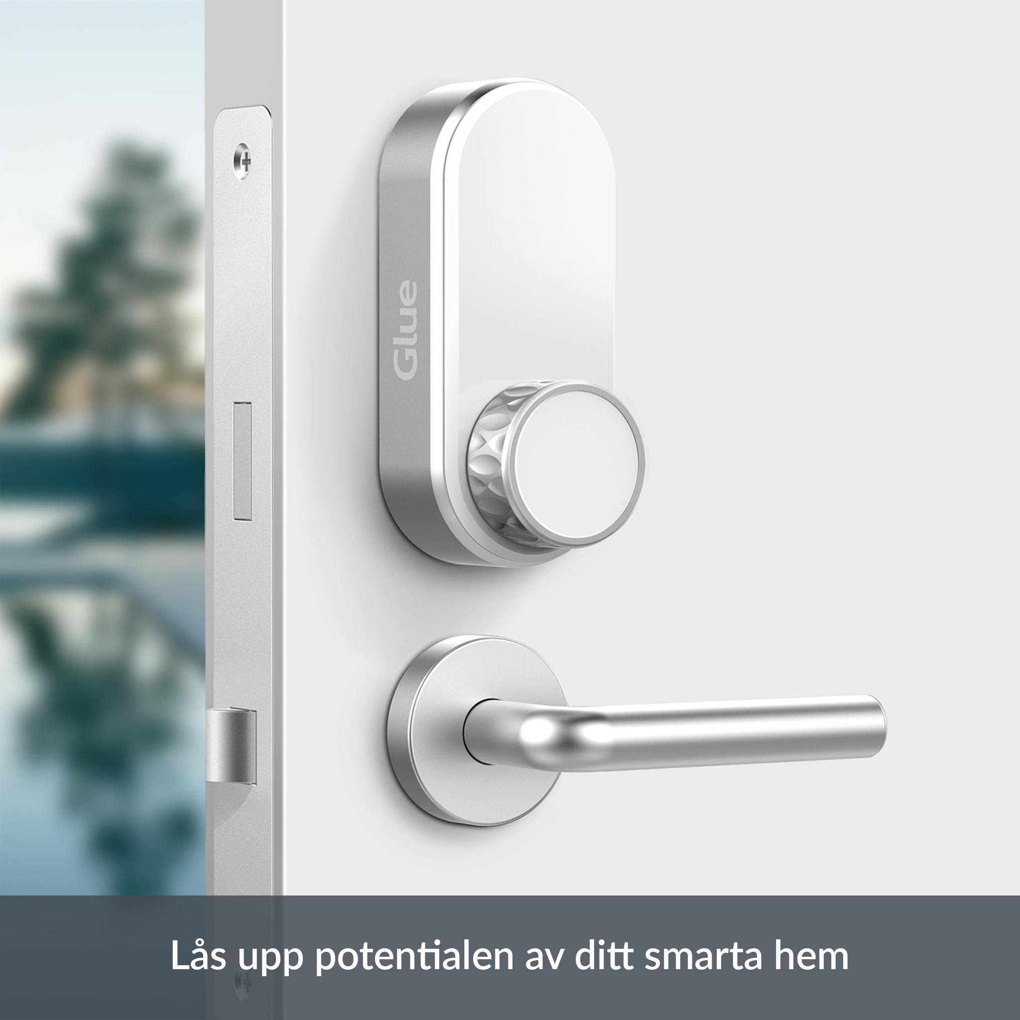 Glue is mounted on the inside of your door, allowing you to lock and unlock with your mobile phone wherever you are. Share permanent or temporary digital keys with family, friends, guests, and service companies. You never need to be home again to receive a delivery, Airbnb guest or handiman. Facts about Glue Lock: - Glue Lock is easily mounted over your existing lock - it does not affect the lock and your regular keys still work if needed. - Control your door lock via Bluetooth and Wi-Fi with the Glue app - Share digital keys to other people in the app and customize when they will be able to unlock - Get notifications when the lock is used and see who's accessed the lock - State of the art encryption and unique encrypted digital keys - The Bluetooth signal has a range of approximately 15 meters - Glue Lock is approved by If Skadeförsäkring AB and Länsförsäkringar Stockholm - Powered by 4 AA batteries (supplied) so the lock is not affected by power outages. The batteries last for up to a year and are easy to replace, the app indicates when it's time to replace them Facts about Glue WiFi Hub: - Control your lock over the internet wherever you are - No wires - connect directly to the power outlet - Dimensions: 53 x 82 x 74 mm (including plug)