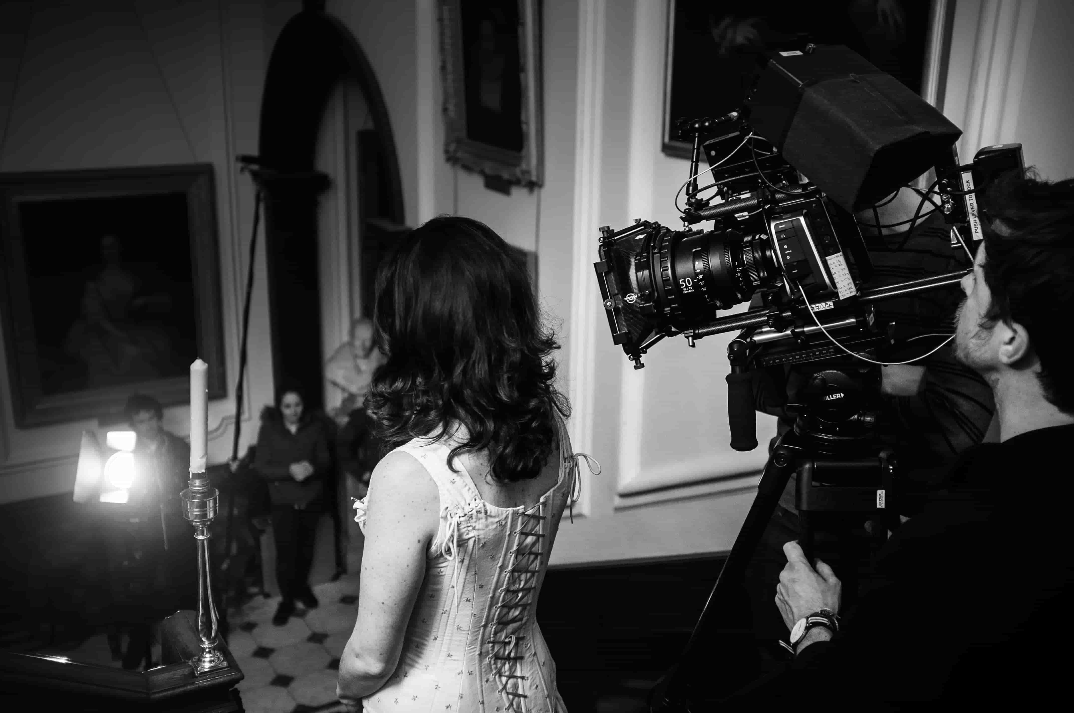 video production nottingham - camera and lady in white dress