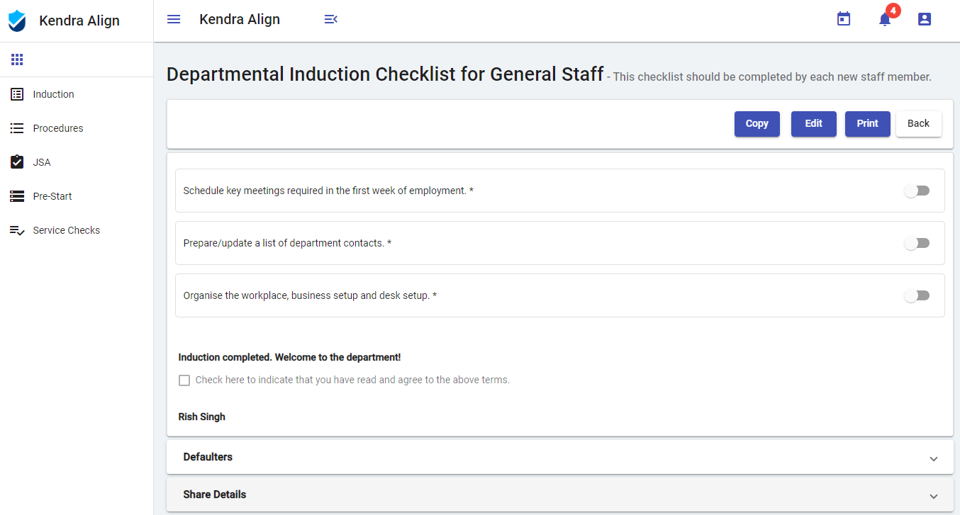 View Safety Management Checklists - Kendra Align