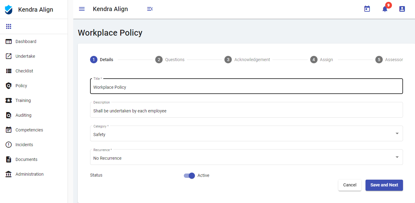 Work Health and Safety Policy Software System - Kiri Align