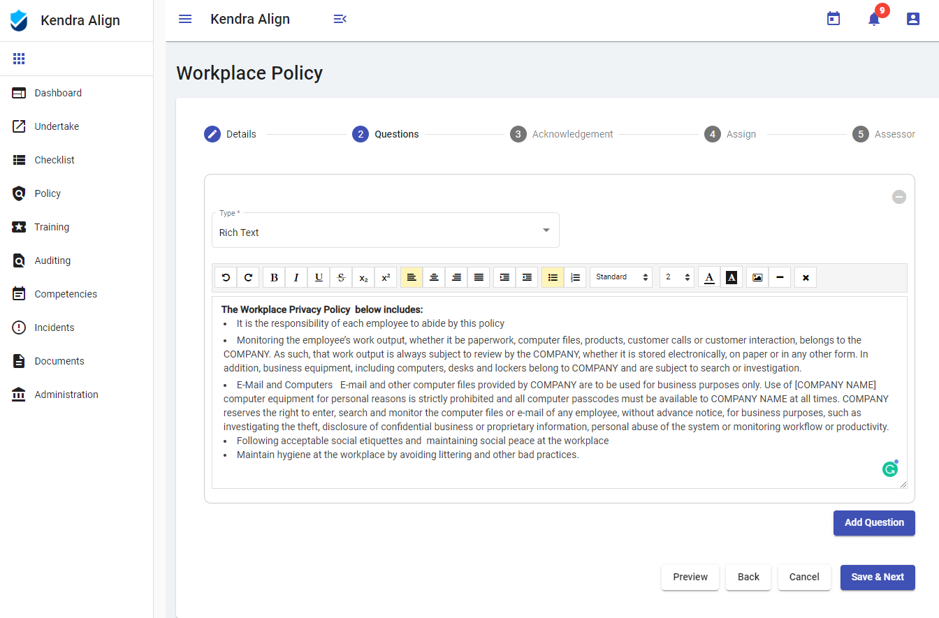 Occupational Health and Safety Policy Software Application - Kiri Align