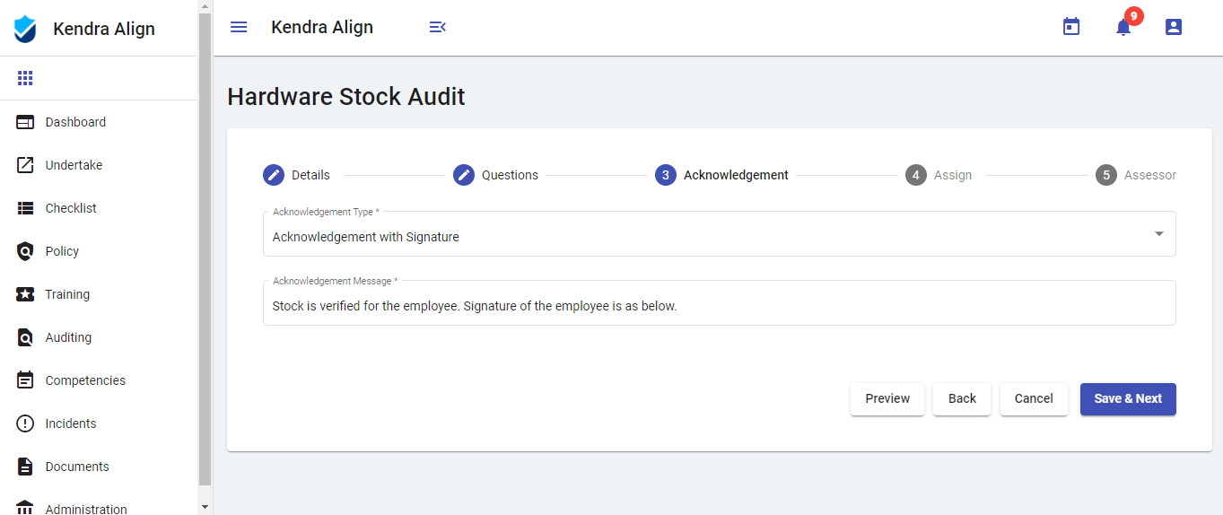 Occupational Health and Safety Audits Software Application - Kiri Align
