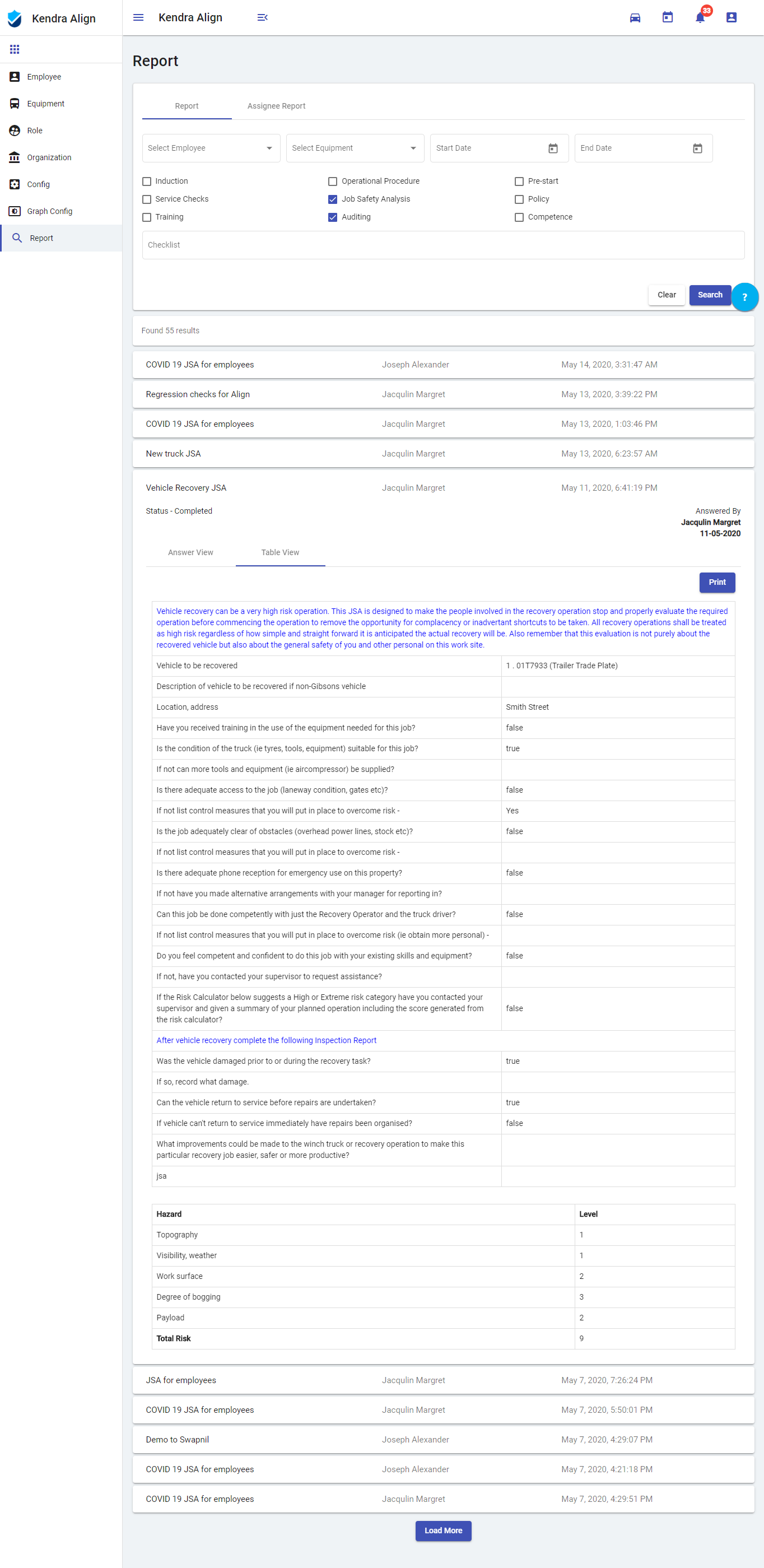 Print Safety Reports PDF - Kiri Align