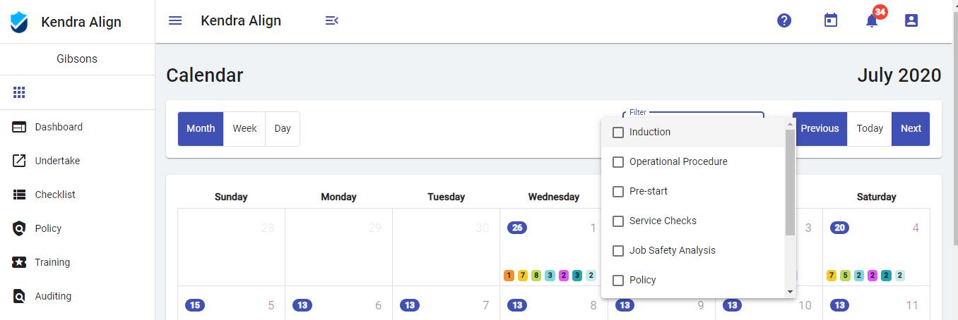 Checklist Filters for Calendar - Kiri Align
