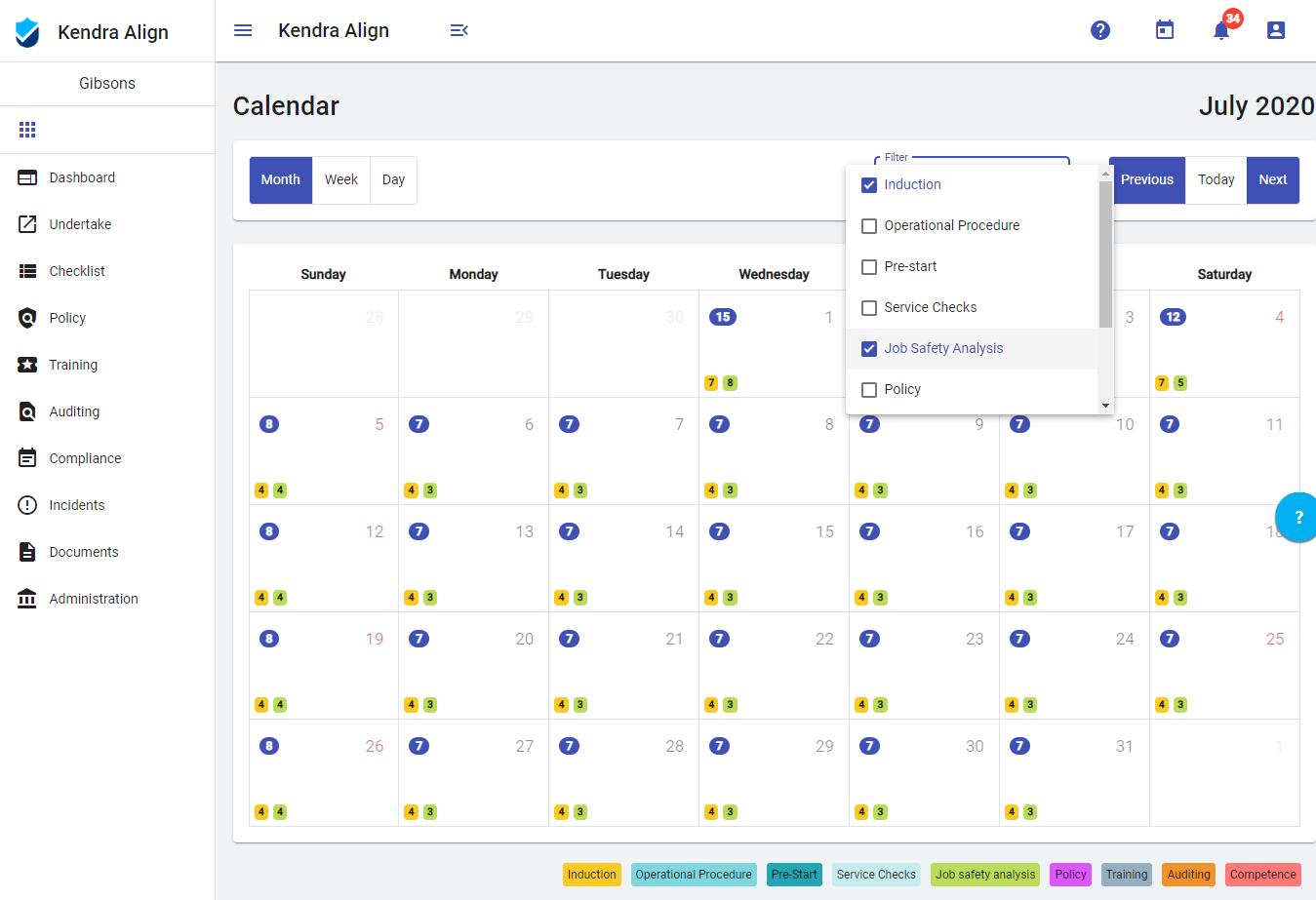 Filtered Calendar View - Kiri Align
