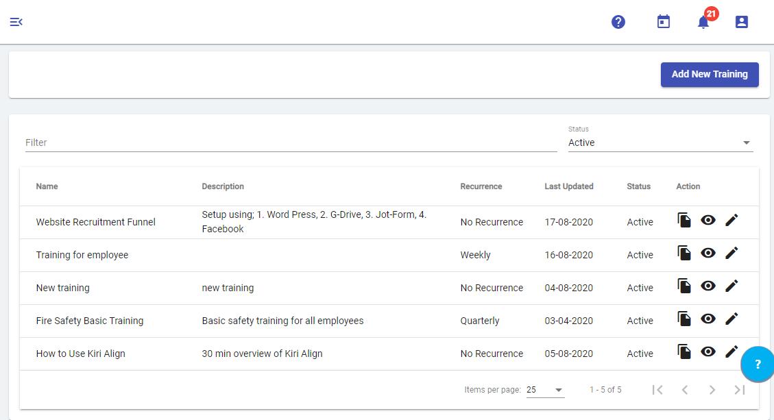 Workplace Safety Training List - Kiri Align
