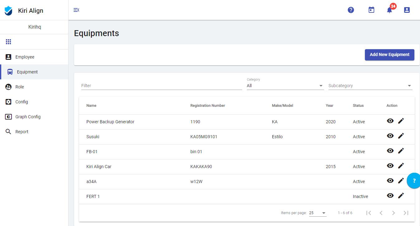 Equipment Management - Kiri Align