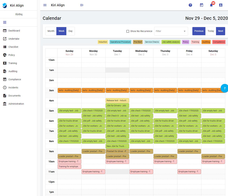 Weekly Calendar View - Kiri Align