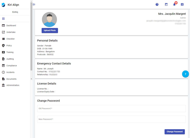 View and Update Profile - Kiri Align