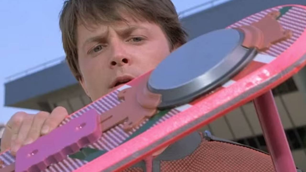 Marty McFly checks out his hoverboard in back to the future