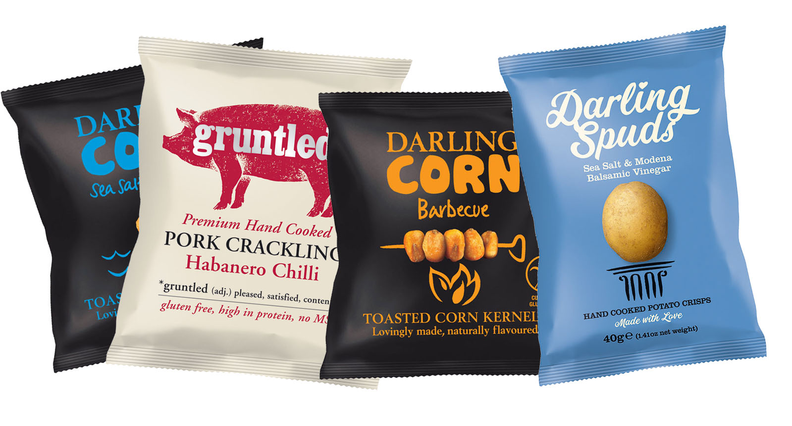Darlings Spuds, Darling Corn and Gruntled packaging group shot