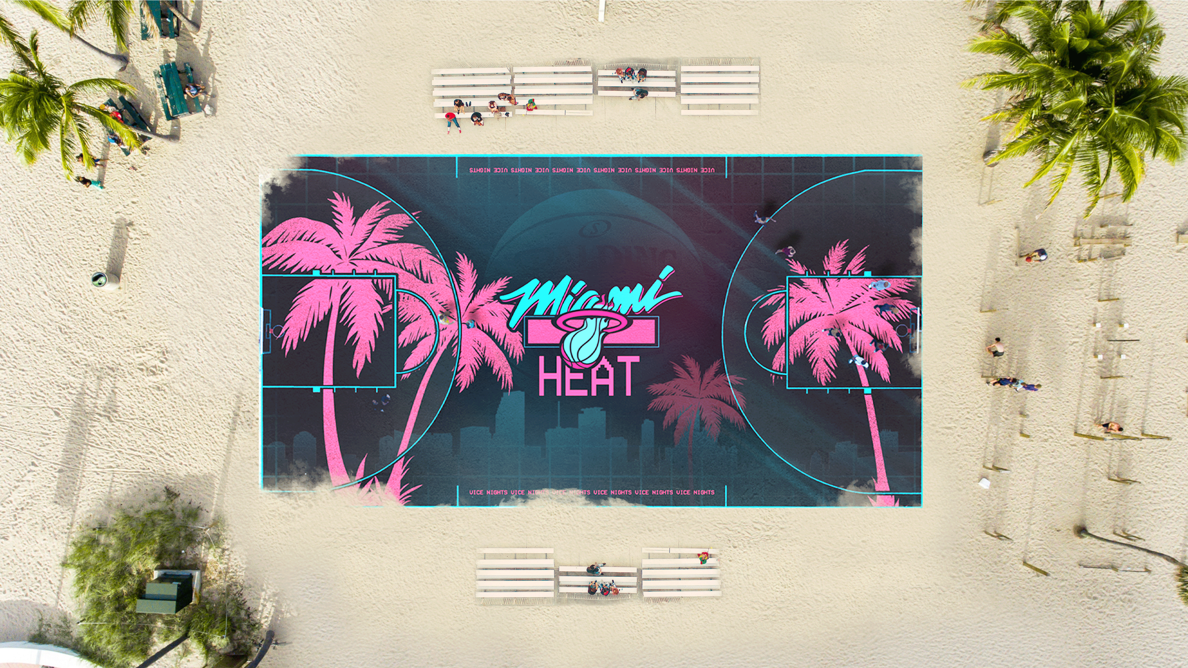 "Miami ""Vice"" Heat outdoors court"