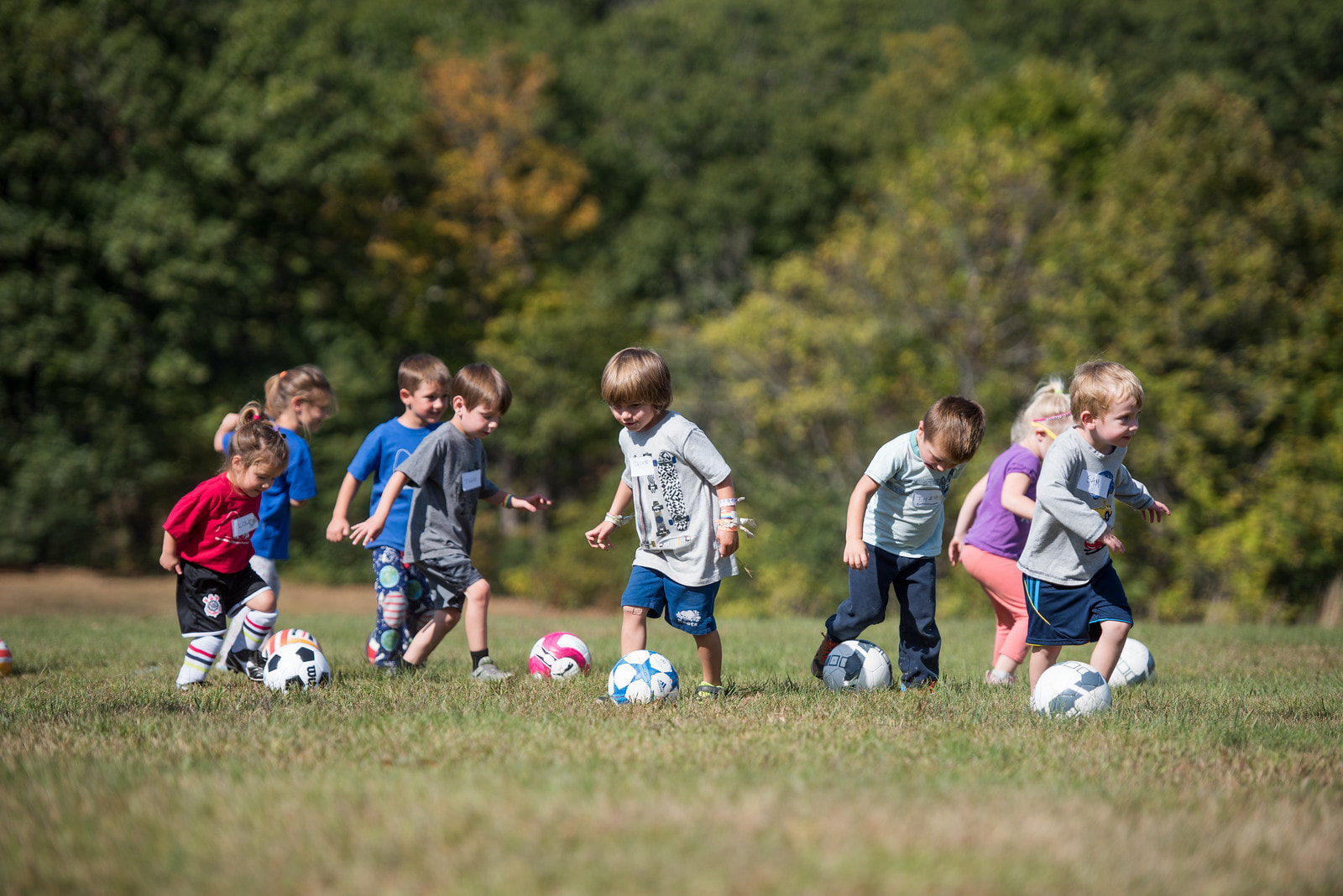 Picture of children kicking soccer balls