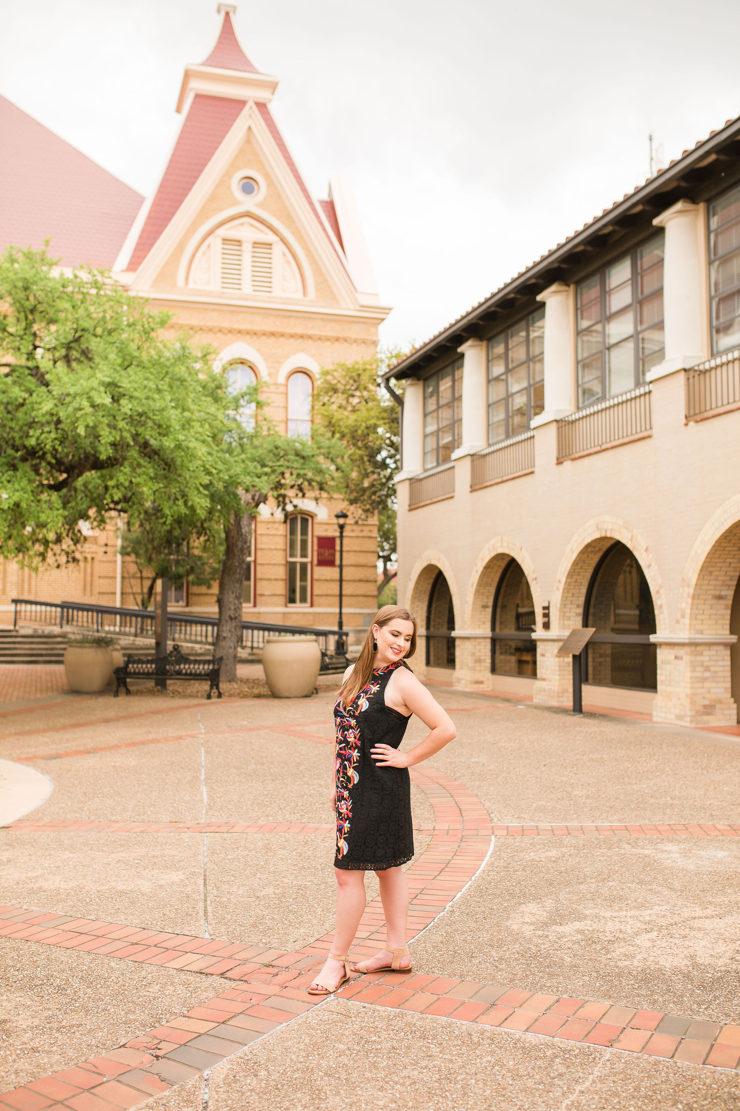 Just me, in front of Old Main on the Texas State University campus.