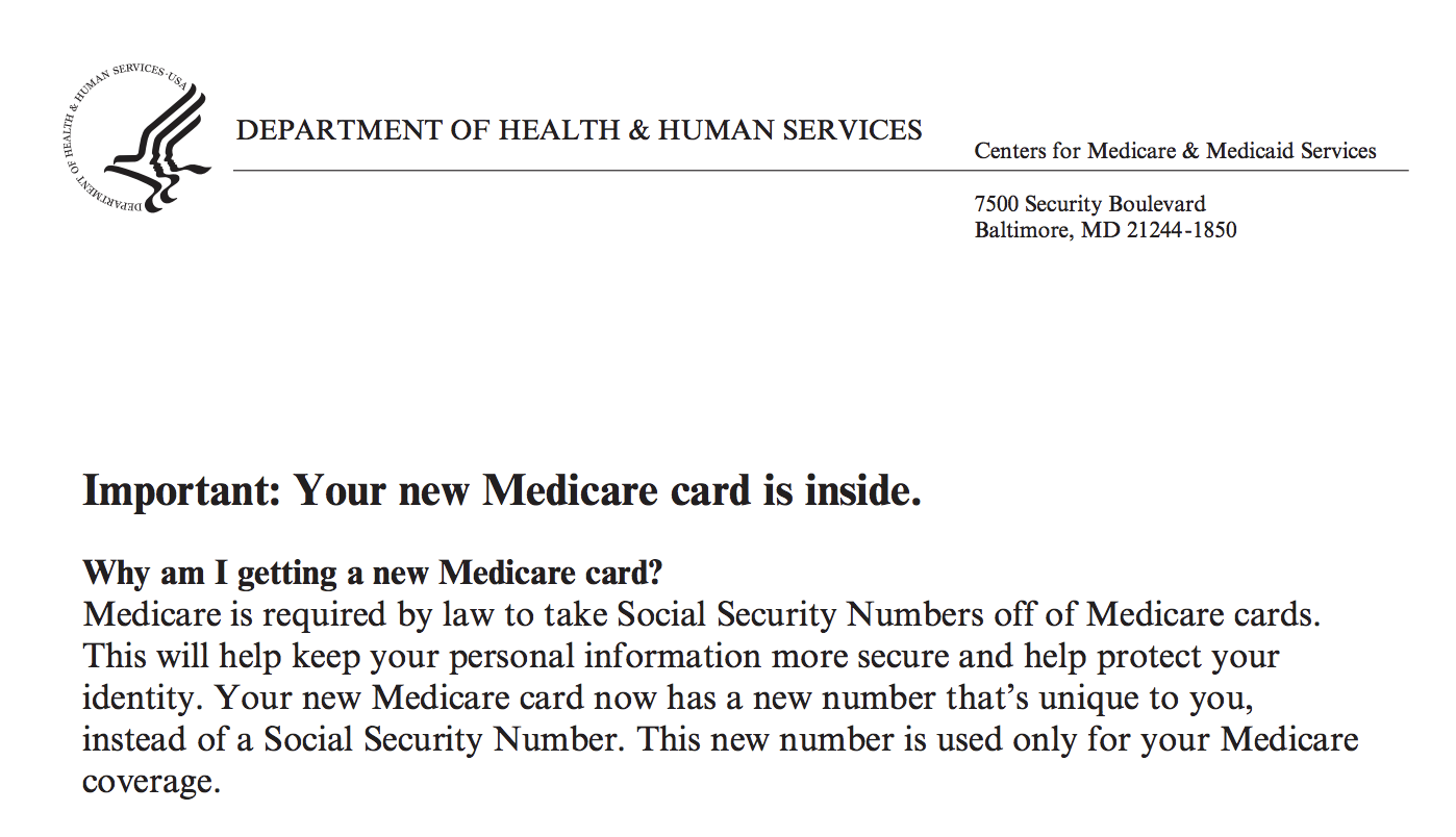 New medicare card letter example