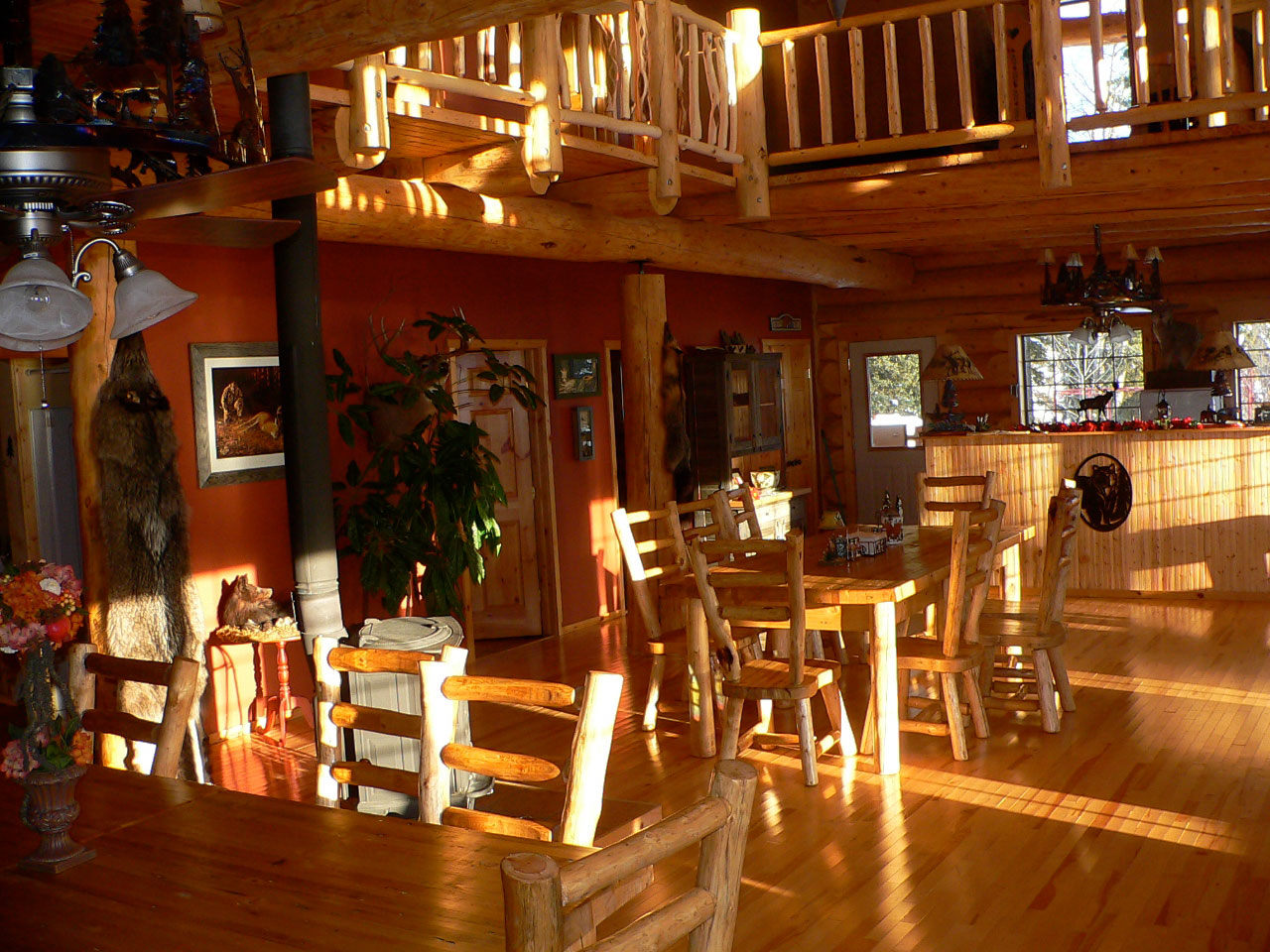 The dining room at the log cabin main lodge at Smoothstone Lake Lodge in Saskatchewan, Canada.