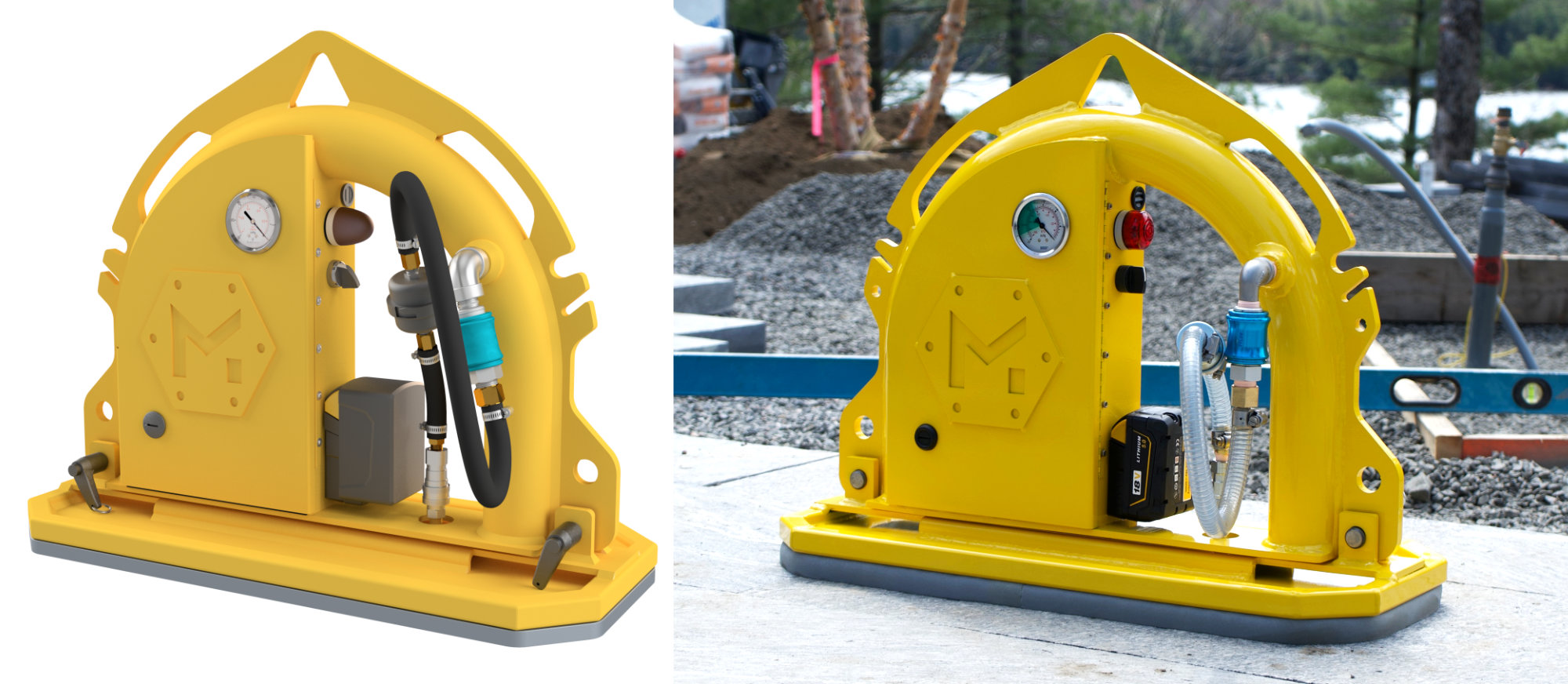 A 3D CAD model of the Mini Mk2 lifter beside the real product.
