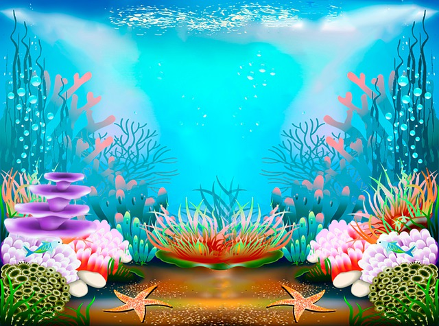 illustration of ocean floor with plants and starsifh
