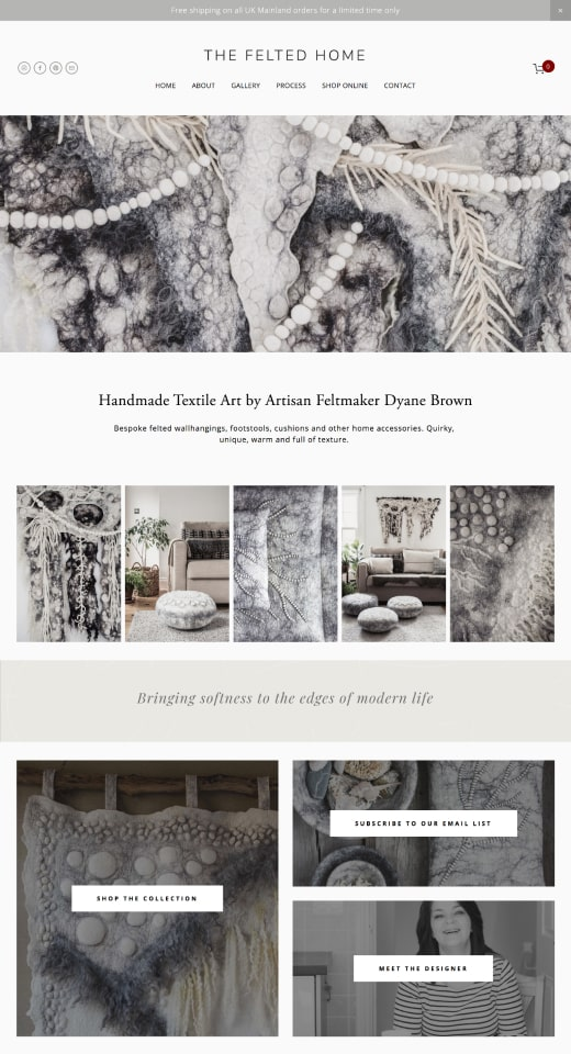 Web design portfolio mockup for the Felted Home