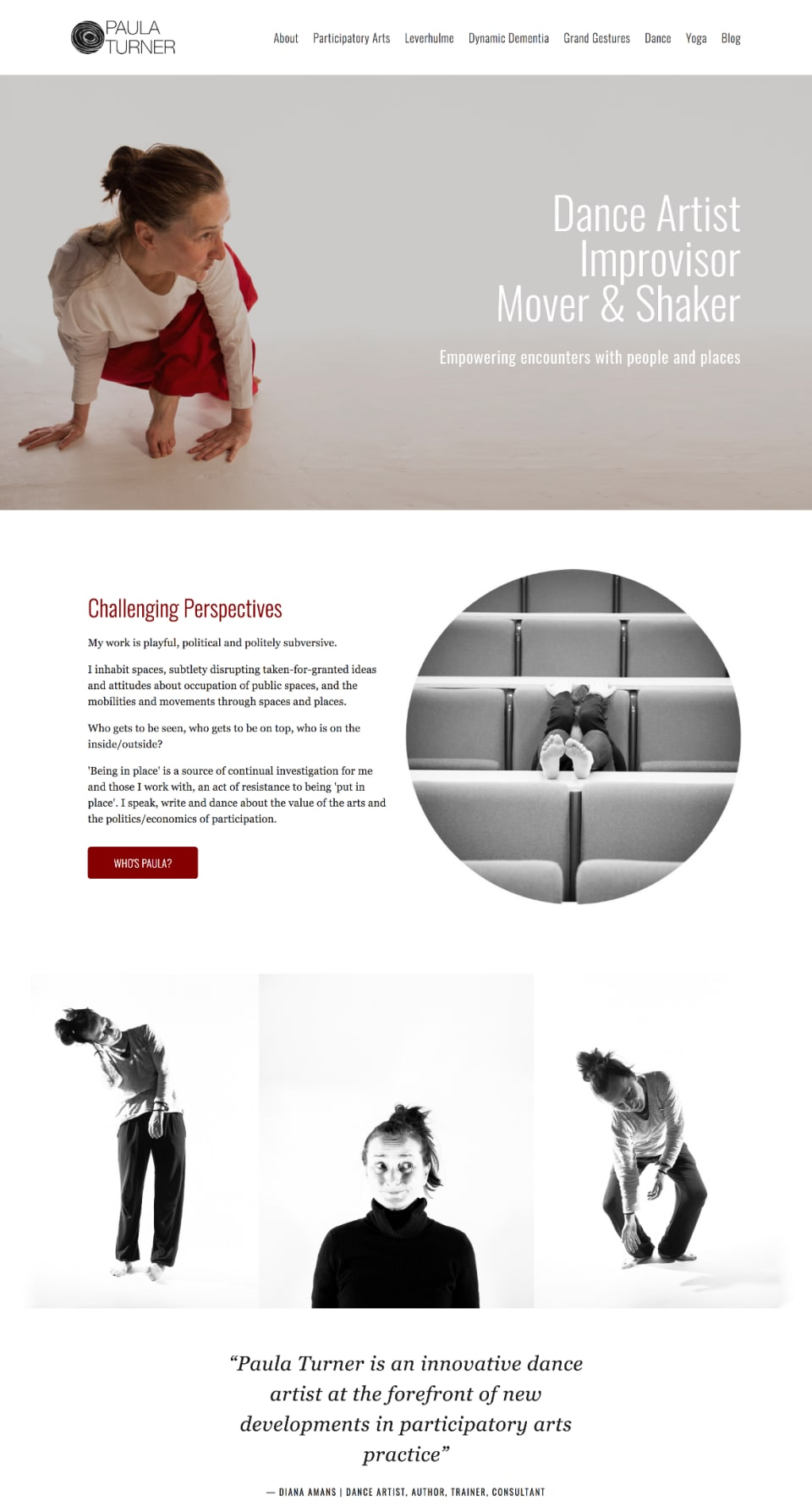 Web design portfolio mockup for Paula Turner