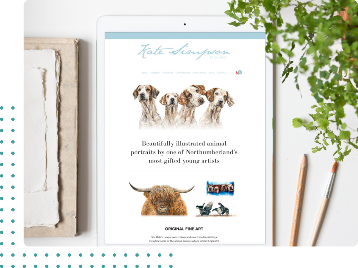iPad mockup of a website design