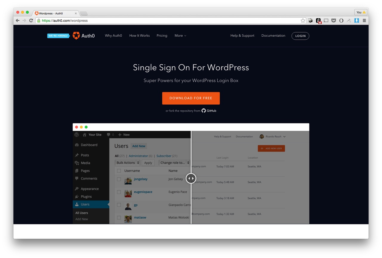 Auth0 single feature page