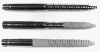 Different types of half pins. Non hydroxy-apatite coated, partially and full hydroxy-apatite coated half pins.