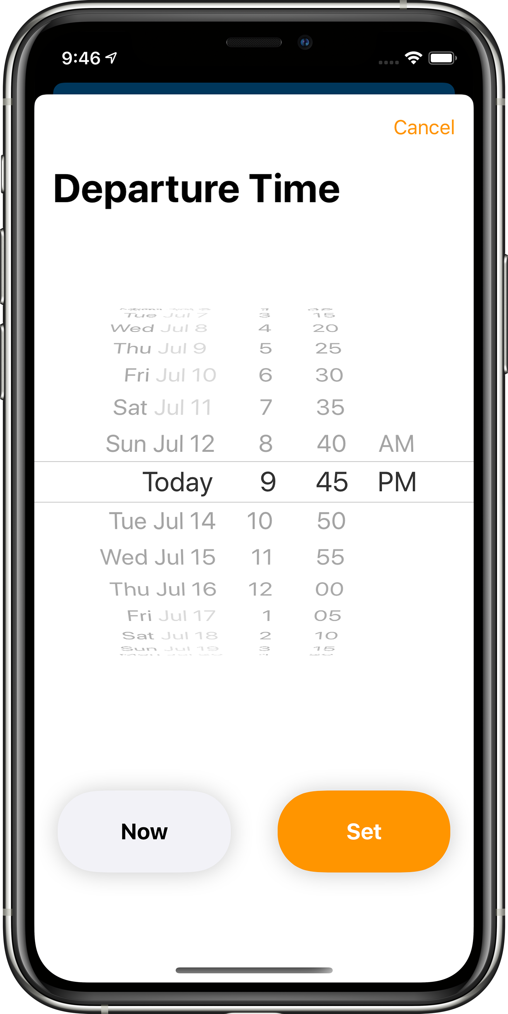 App showing departure time settings