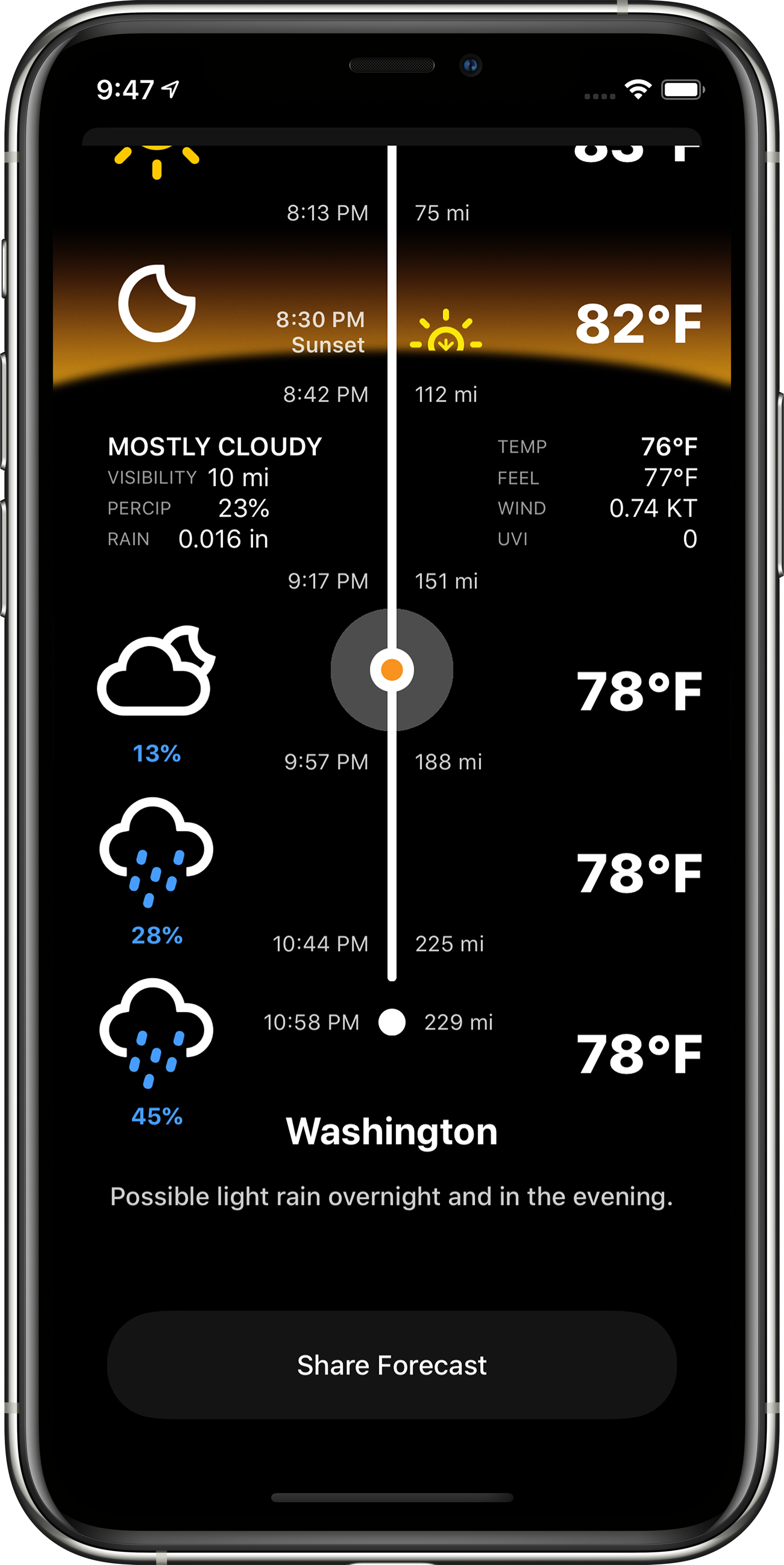 Timeline view showing weather forecast