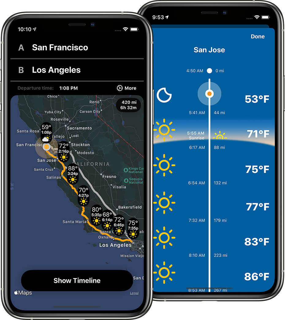 Two images of a phone running Weather on the  Way app