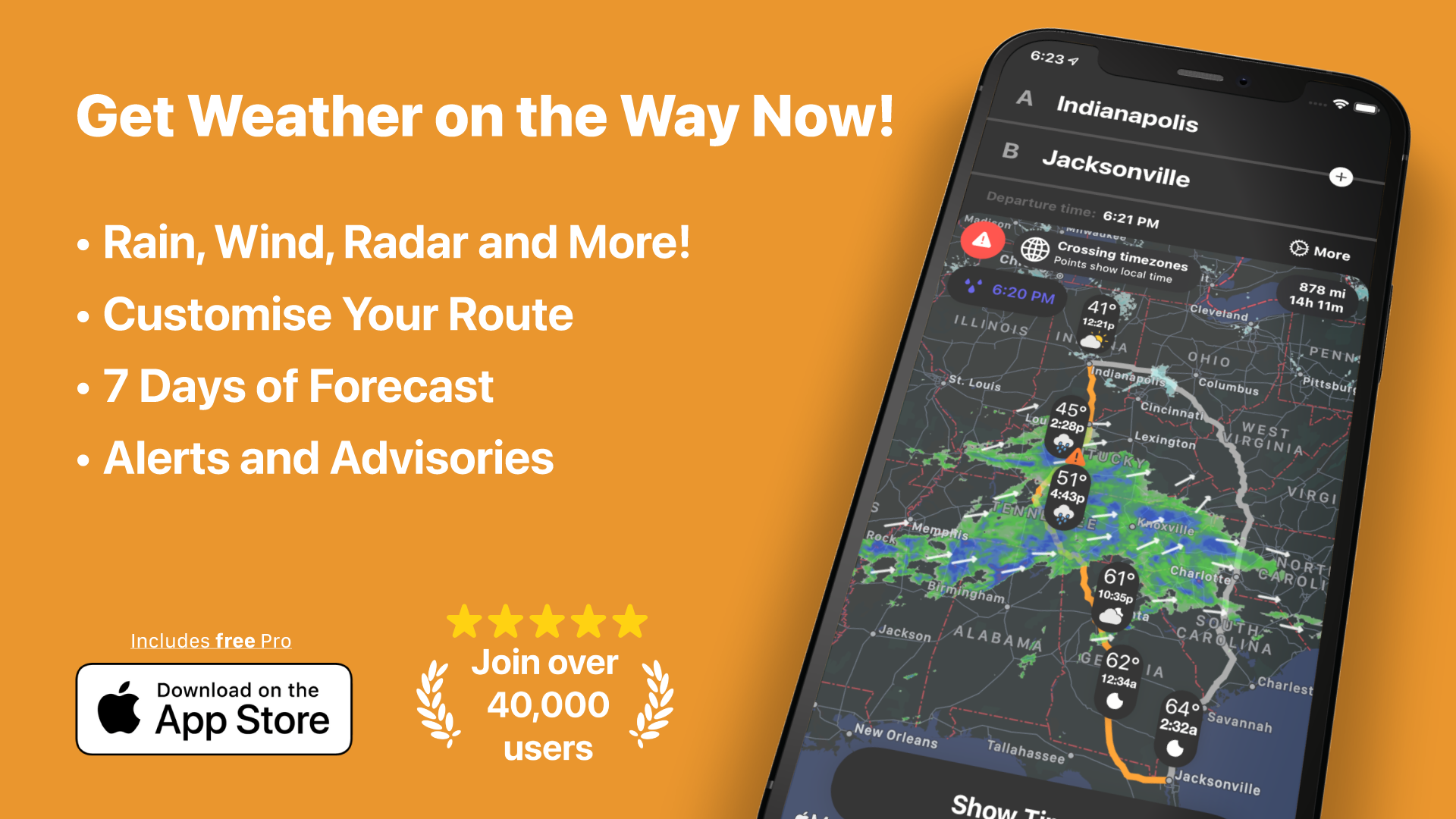 Get Weather on the Way Now!             • Rain, Wind, Radar and More!             • Customise Your Route             • 7 Days of Forecast              • Alerts and Advisories              Download on the AppStore