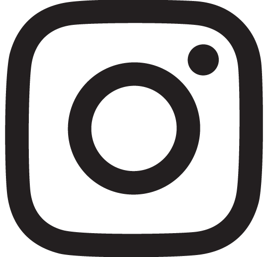 Black outline of Instagram logo; Square with rounded corners, a small filled out circle to the top right corner and a larger outline of a circle to the centre.