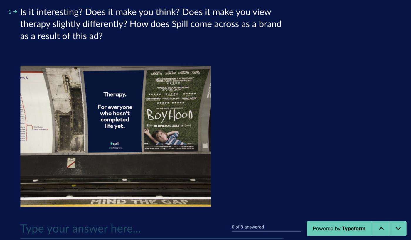 Image of Spill advert on underground