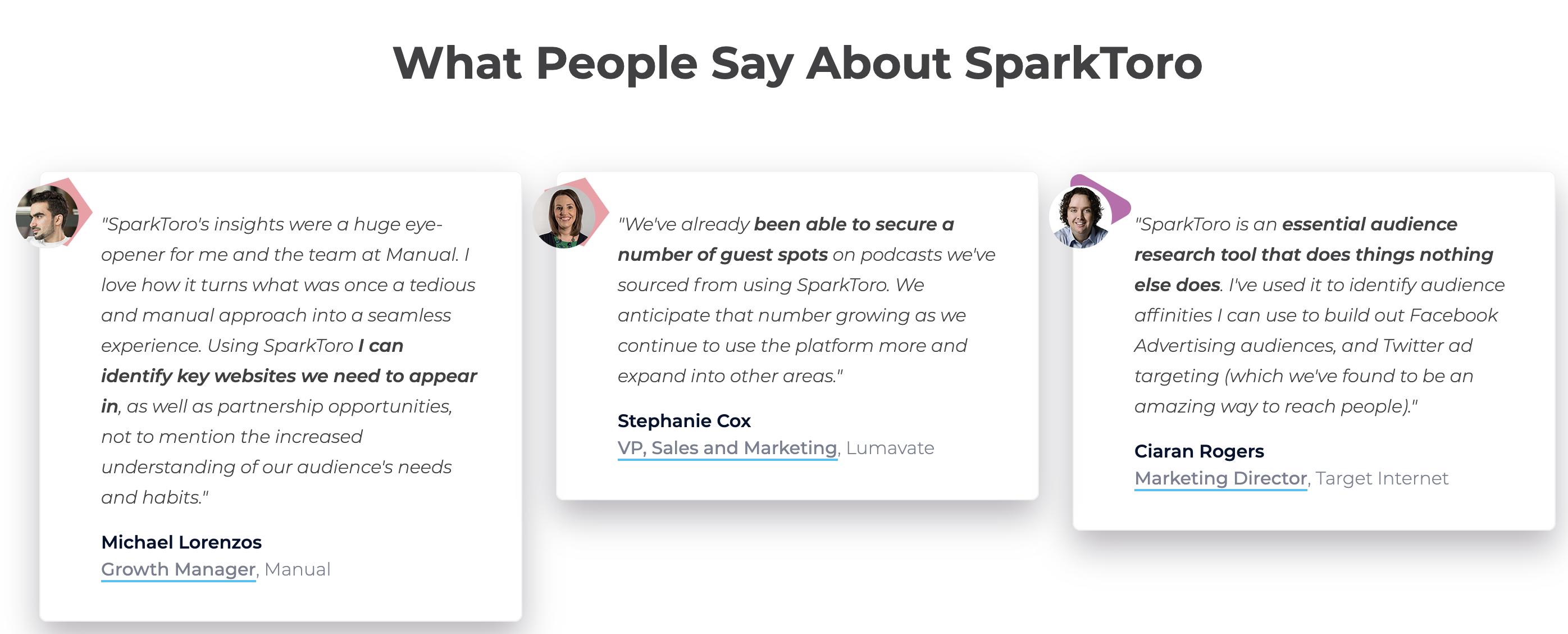 Testimonials for SparkToro