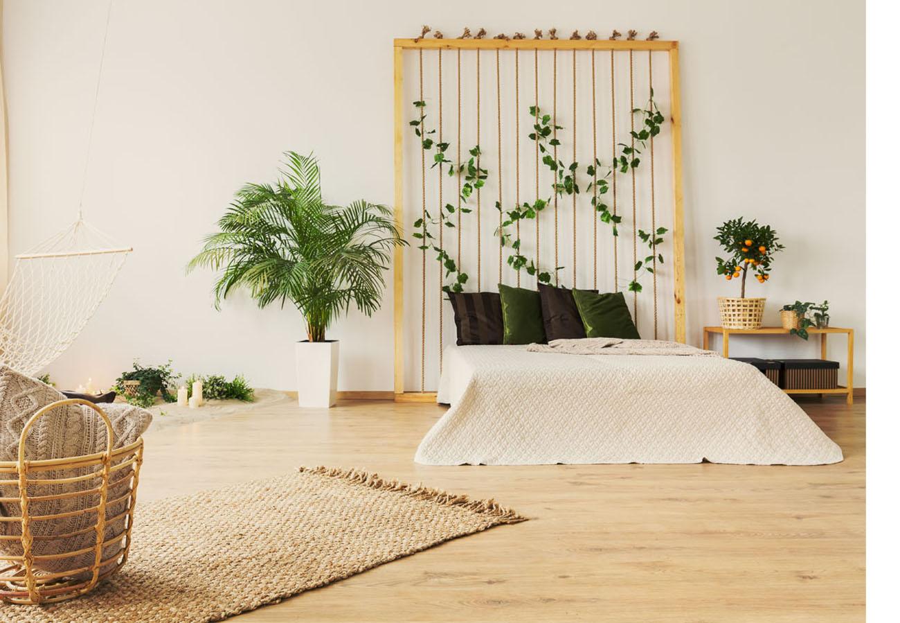 Kletterpflanzen im Schlafzimmer als Rückwand am Bett - Grüne Oase