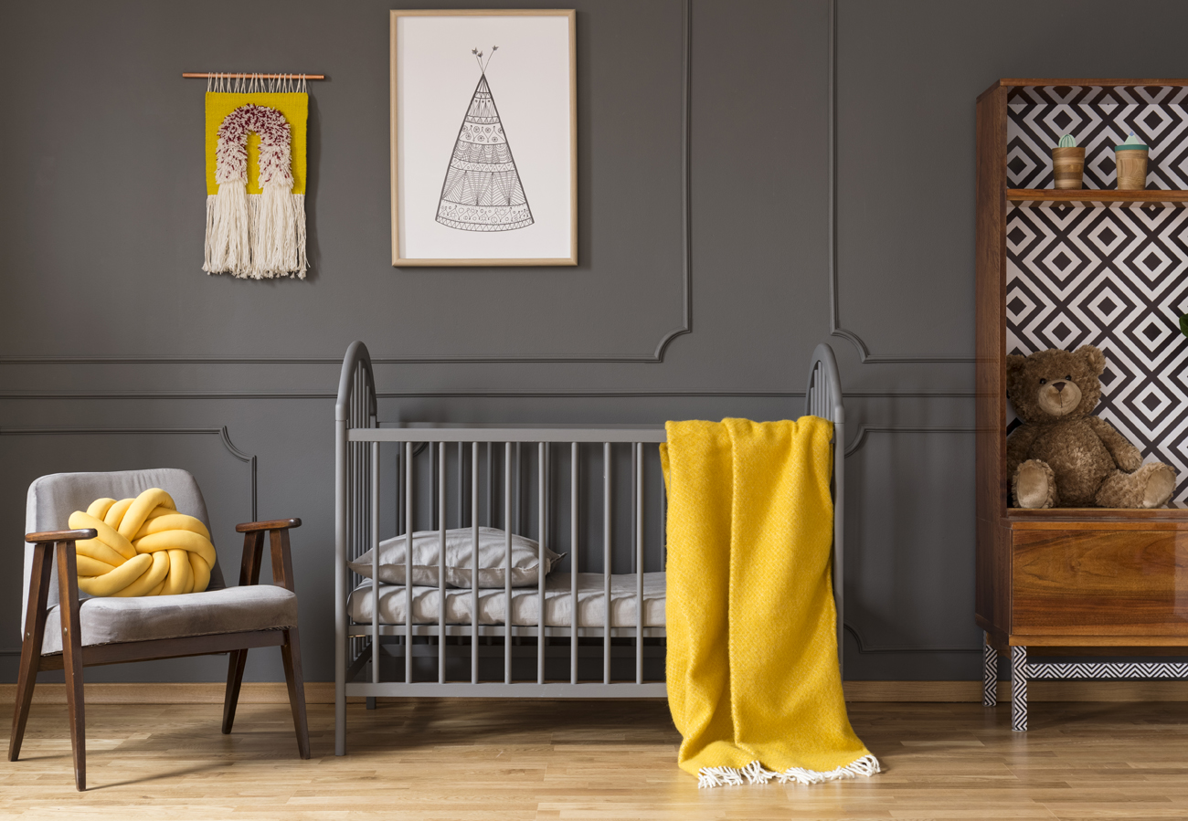 Inspiration Kinderzimmer grau gelb