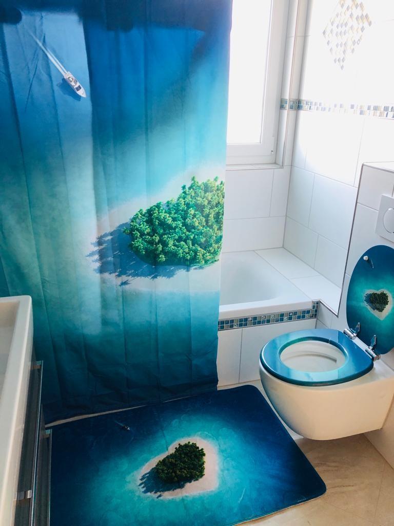 Badezimmer - Duschvorhang, Klodeckel und Badematte Motiv Strand von WCShop24