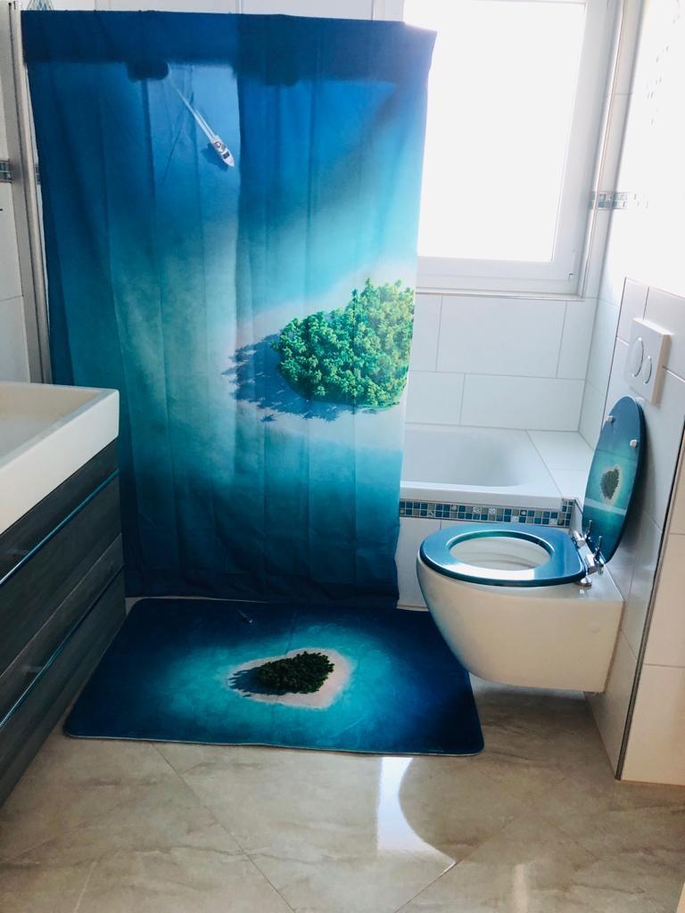 Badezimmer - Duschvorhang, Klodeckel und Badematte Motiv Strand von WCShop24 Bild 2