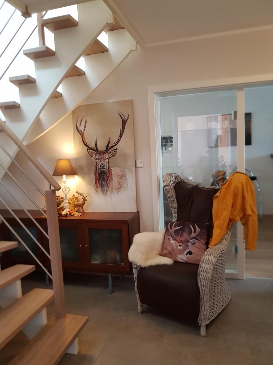 Daniela's Haus emuliert die Natur, mit Holztönen, Pflanzen und natürlichem Licht.