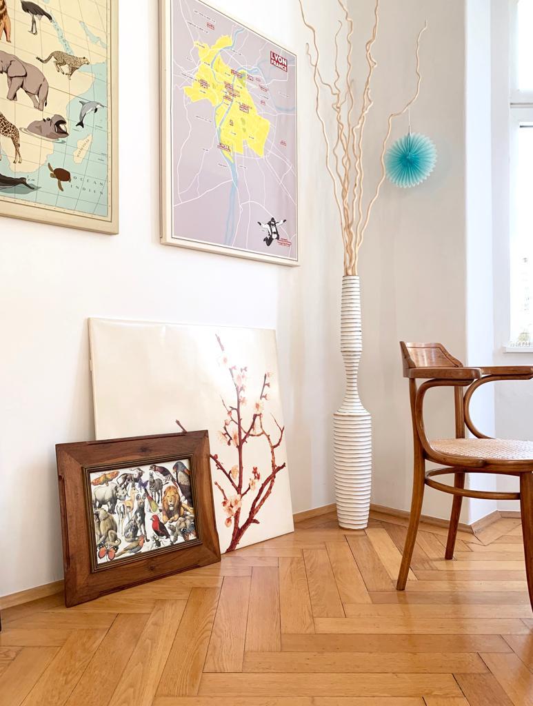 Wohnen, Pflanze, Naturholz, Weiß, Dekoration, Bilderrahmen, Stuhl