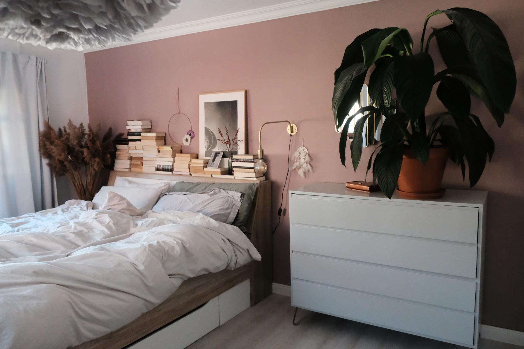 Bett, Modern, Schrank, Pflanze, Weiß