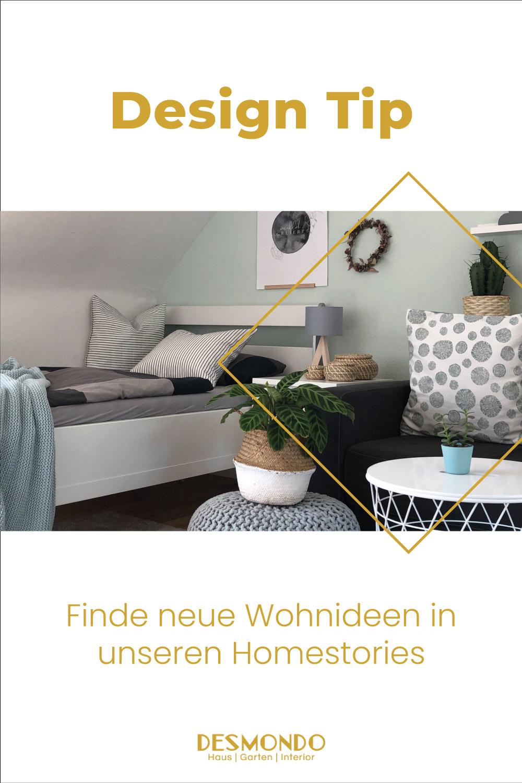 Wohnzimmertischdekoration - Blumenstrauß Homestory Beton trifft auf Glas. Weitere Wohnideen findest du bei desmondo.de