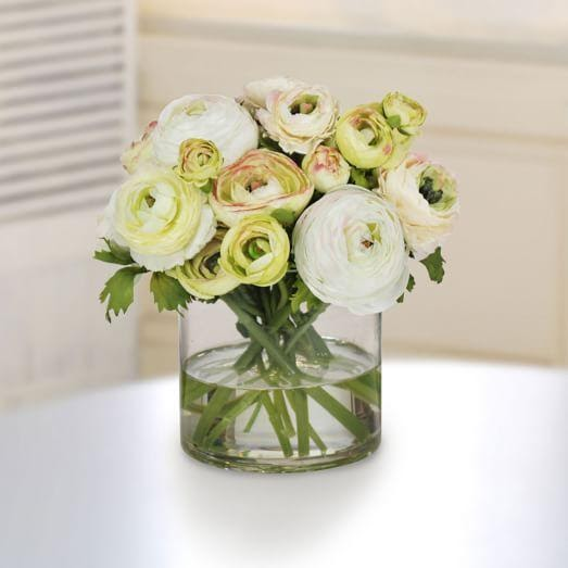 Faux Ranunculus in Vase - Green