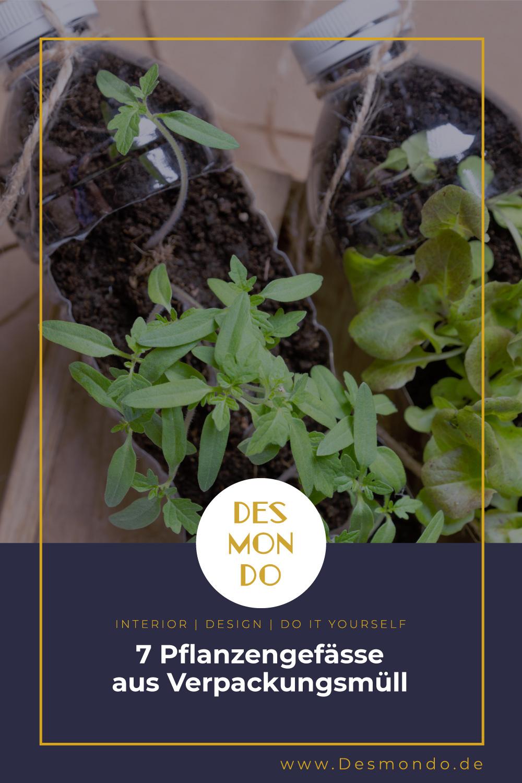 Outdoor - Inspirationen für Balkon und Garten - 7 Pflanzengefässe aus Verpackungsmüll- so geht's einfach Desmondo dein online Magazin und Shop