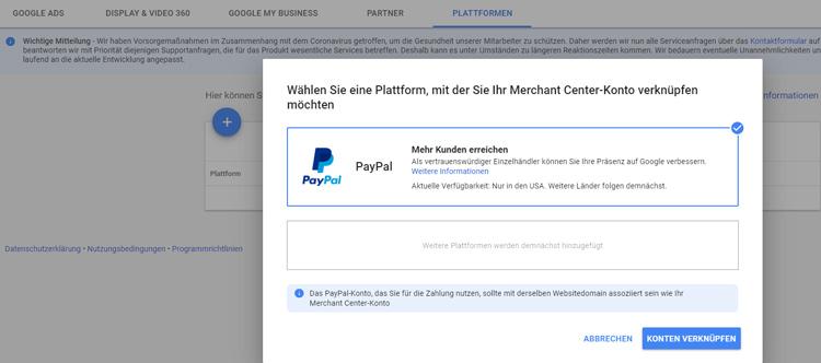 merchant center mit paypal verknüpfen