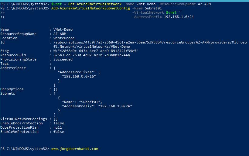 Add-AzureRmVirtualNetworkSubnetConfig