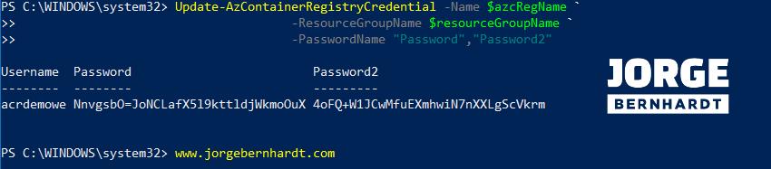 Update-AzContainerRegistryCredential