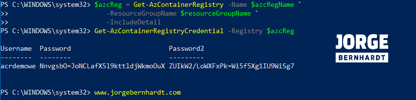 Get-AzContainerRegistryCredential