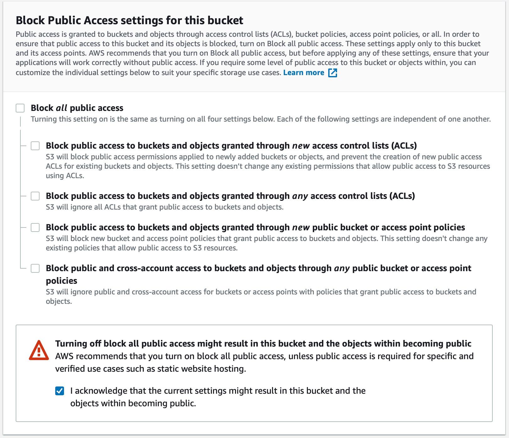 Open Public Access Settings