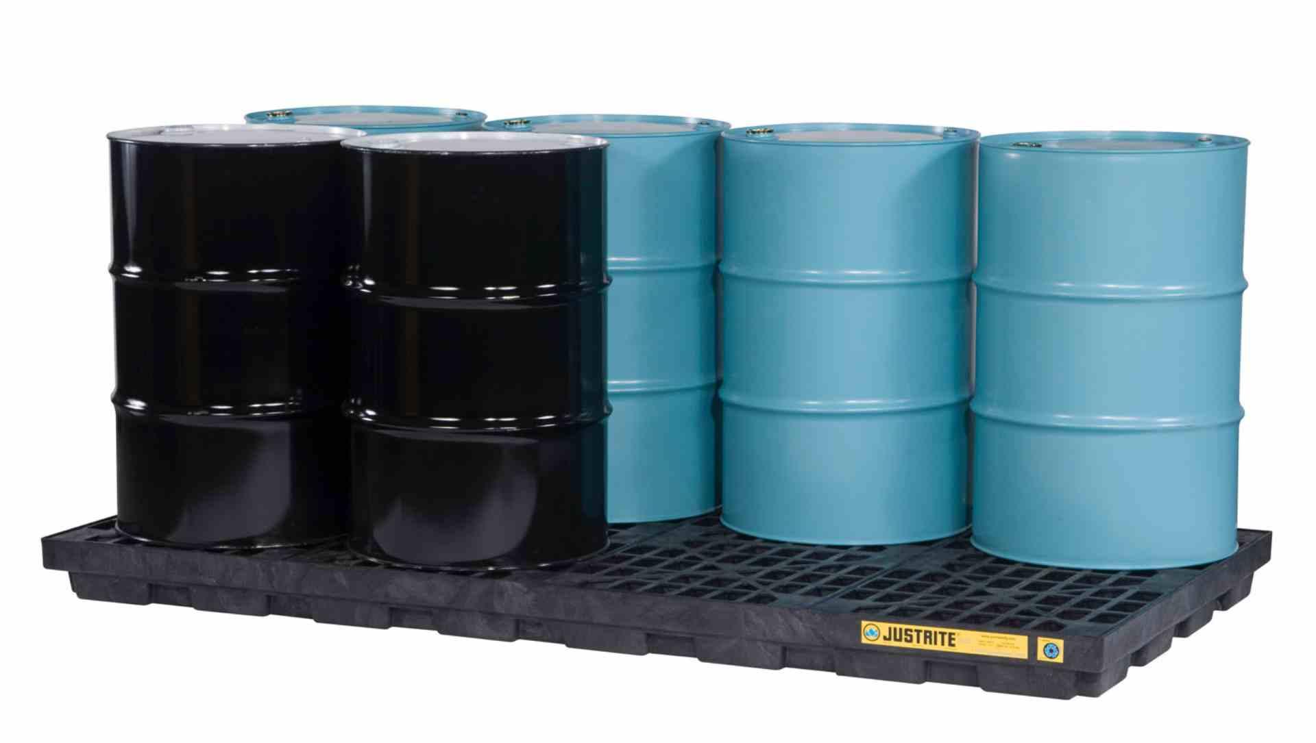 Wanna wychwytowa polietylenowa niskoprofilowa pod 8 beczek, kolor czarny, 2464 x 1245 x 140 mm